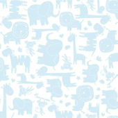 Baby Safari Blue Sidewall Wallpaper