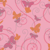 Butterfly Pink And Orange Sidewall Wallpaper