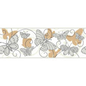 Butterfly Tan And White Wallpaper Border