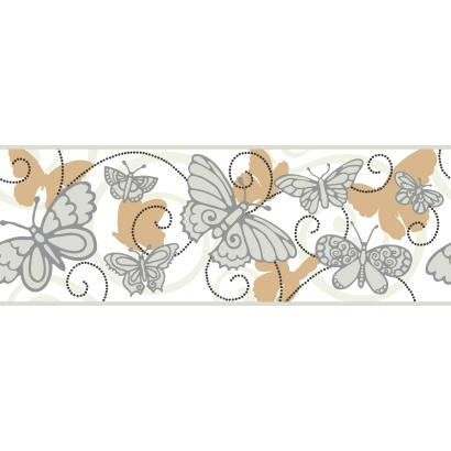 Butterfly Tan And White Wallpaper Border - Wall Sticker Outlet