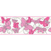 Butterfly Pink And White Wallpaper Border