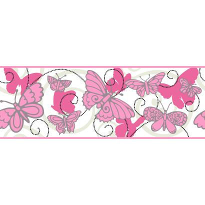 Butterfly Pink And White Wallpaper Border - Wall Sticker Outlet