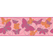 Butterfly Pink And Orange Wallpaper Border