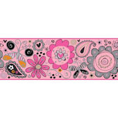 Doodlerific Pink And Grey Wallpaper Border
