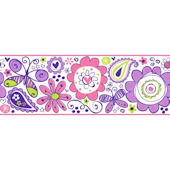 Doodlerific Purple And Pink Wallpaper Border