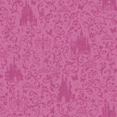 Disney Hot Pink Small Scroll Castle Wall Paper