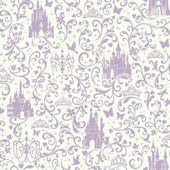 Disney Lavender Small Scroll Castle Wall Paper