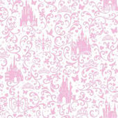 Disney Light Pink Small Scroll Castle Wall Paper