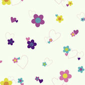 Disney White Flower And Heart Sidewall Wall Paper