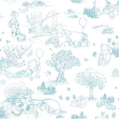 Disney Blue Pooh And Friends Toile Wall Paper - Wall Sticker Outlet