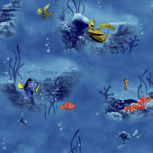 Disney Finding Nemo Blue Under Water Wall Paper