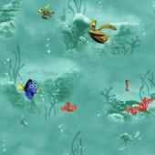 Disney Finding Nemo Teal Under Water Wall Paper