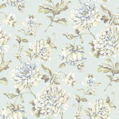 Painterly Floral Blue Wallpaper
