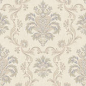Bohemian Damask Cream And Lavender Wallpaper