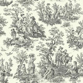 Country Life Black Waverly Wallpaper