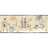 Pirate Map Border Cream Wallpaper