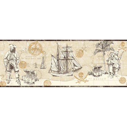Pirate Map Border Cream Wallpaper - Wall Sticker Outlet