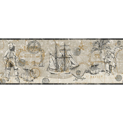 Pirate Map Border Gray Wallpaper  - Wall Sticker Outlet