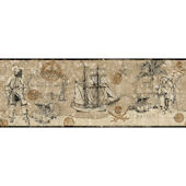 Pirate Map Border Tan Wallpaper SALE