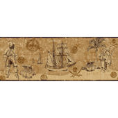 Pirate Map Border Brown Wallpaper SALE