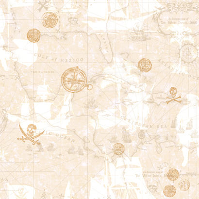 Pirate Map Cream Wallpaper  - Wall Sticker Outlet