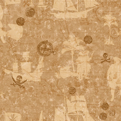 Pirate Map Brown Wallpaper  - Wall Sticker Outlet