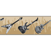 Black and Tan Guitar Wallpaper Border