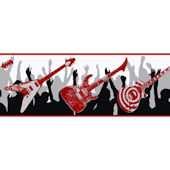 Black and Red Guitar Wallpaper Border