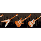 Black and Orange Guitar Wallpaper Border