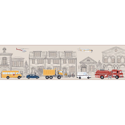 Large Tan Main Street Wallpaper Border SALE - Wall Sticker Outlet