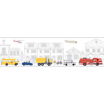 Large White Main Street Wallpaper Border - Wall Sticker Outlet