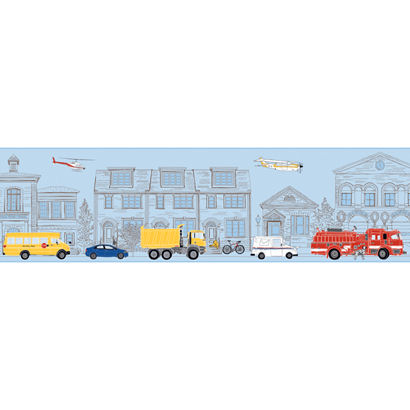 Large Blue Main Street Wallpaper Border - Wall Sticker Outlet