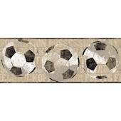 Tan Soccer Ball Sports Wallpaper Border