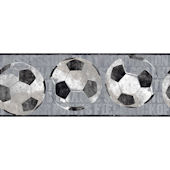 Gray Soccer Ball Sports Wallpaper Border