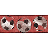 Red Soccer Ball Sports Wallpaper Border