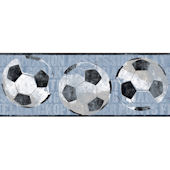 Blue Soccer Ball Sports Wallpaper Border