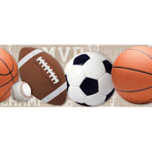 Tan Sports Balls Wallpaper Border