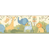 A Day at The Zoo Yellow Wallpaper Border