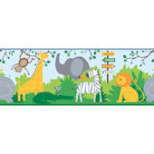 A Day at The Zoo Blue Wallpaper Border