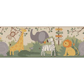 A Day at The Zoo Brown Wallpaper Border