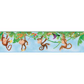 Blue Monkey Wallpaper Border