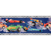 Navy Blue Race Car Wallpaper Border