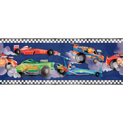 Wallpaper Borders on Navy Blue Race Car Wallpaper Border   Wall Sticker Outlet