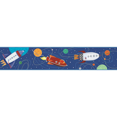 Navy Blue Outer Space Wallpaper Border - Wall Sticker Outlet
