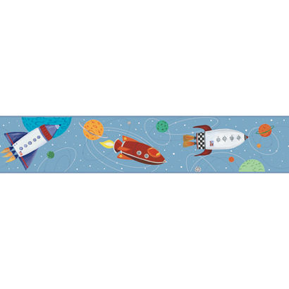 Light Blue Outer Space Wallpaper Border - Wall Sticker Outlet