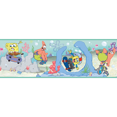 Sponge Bob Blue Wallpaper Border - Wall Sticker Outlet