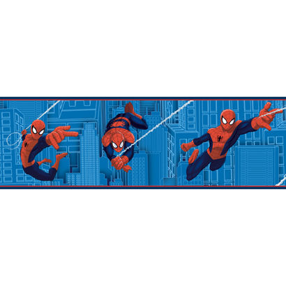 Ultimate Spiderman Blue Wallpaper Border - Wall Sticker Outlet