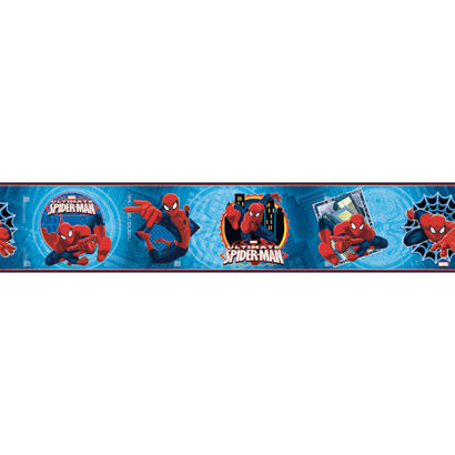 Ultimate Spiderman Badge Blue Wallpaper Border - Wall Sticker Outlet