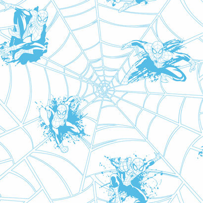 Ultimate Spiderman Web Blue Wallpaper  - Wall Sticker Outlet