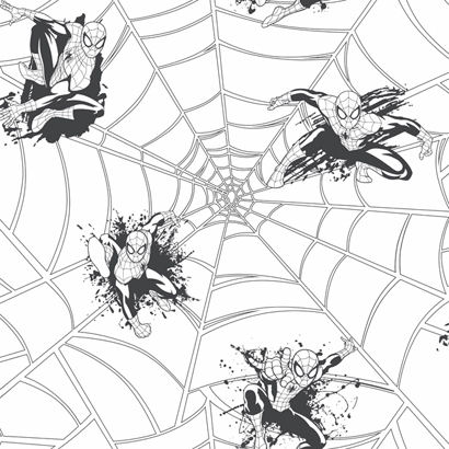 Ultimate Spiderman Web Black Wallpaper  - Wall Sticker Outlet